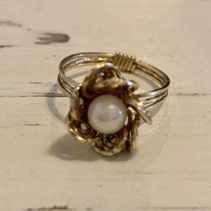 Twisted Gold & Pearl Flower Ring